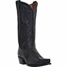 Dan Post Mens Black Saddle Leather Bexar Snip Toe Cowboy Boots