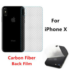 HD Front Tempered Glass Back Carbon Fiber Screen Protector Film For iPhone X Lot