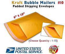 """1-15 #0 6x10 KRAFT BUBBLE PADDED MAILERS SHIPPING SELF SEAL ENVELOPES 6"""" x 10"""""""