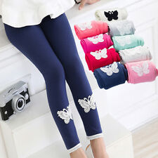 Kids Girls Tight Pants Lace Butterfly Warm Stretchy Leggings Trousers BH