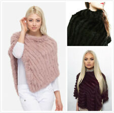 Sexy Real Knitted Rabbit Fur Shawl Hoodie Poncho Women Stole Cape Outwear Coat