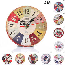Fashion Vintage Rustic Tuscan Style Wooden  Home Decorative Round Wall Clock