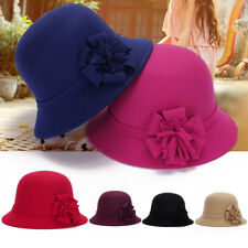 Fashion Women Vintage Imitation Wool Flower Felt Hat Winter Cloche Bucket Cap