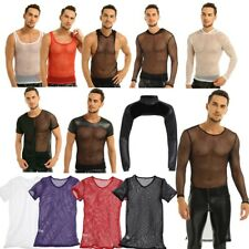 Sexy Sissy Men Mesh Fishnet Lingerie Muscle Gym Underwear Tank Top T-shirts Vest