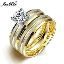 Rings. New Fashion Crystal Zircon Stainless Steel Ring Sets Vintage Wedding Ring
