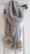 ABERCROMBIE & FITCH GREY CABLE KNIT WOOL POM SCARF MOOSE NWT $78