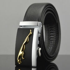 Gold Jaguar Casual Mens Belts Automatic Buckle Genuine Leather Waistband Fashion