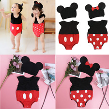 Baby Boys Girls Mickey Minnie Romper Bodysuit Outfit Costume Cotton Hat Clothes