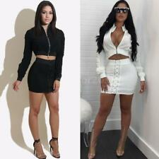 Women 2 Piece Bodycon Two Piece Crop Top and Skirt Set Lace Up Dress Party L5U2