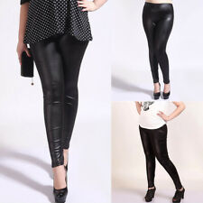 Womens Pu Leather Stretch High Waist Leggings Wet Look Trousers Pants Plus Size