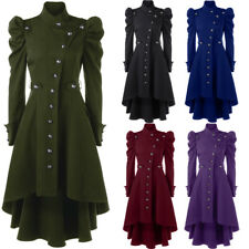 Women's Vintage Long Coat Puff Shoulder Button Up Dip Hem Trench Coat Plus Size