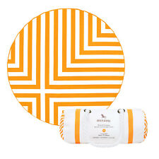 Round Beach Towel in Orange stripes, Compact Microfiber, Extra Large with bag