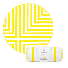 Round Beach Towel in Yellow stripes, Compact Beach Mat, Extra Large with bag