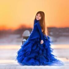 New Royal Blue Pageant Flower Girl Ball Gown with Ruffles 2T-14 FREE SHIPPING