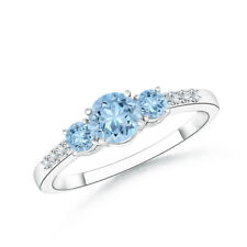 Three Stone Round Natural Aquamarine Diamond Ring 14k White Gold Size 3-13