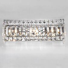 Radiant Prismatic Clear Crystal Wall Light Sconce Indoor Bedroom Lamp in Chrome