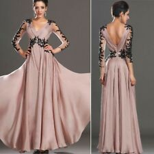 Sexy Lace Chiffon Maxi Dresses Backless A-Line Evening Gowns Party Dress