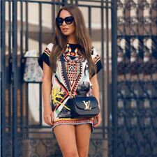 Women Vintage Dress Short Sleeve Print Short Mini Dress