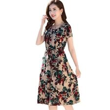 Women Colorful Vintage Fashion Party Wear Printed Pattern Cotton Dress