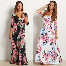 UK Womens Ladies Floral Print Maxi Dress Summer Beach Evening Party Long Dresses