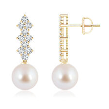 8MM Solitaire Akoya Cultured Pearl Long Earrings with Diamond 14k Yellow Gold