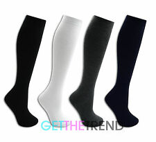 3,6,12 Pairs Girls Knee High Socks Kids School Black White Long Cotton Footwear