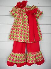 Girls Christmas Dress and Ruffle Pants Outfit Handmade Various Toddler Sizes NEW