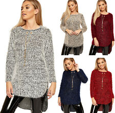 Womens Fluffy Dipped Hem Hi Lo Necklace Sweater Top Ladies Long Sleeve Jumper