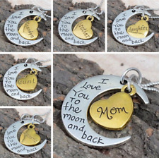 Silver Gold 'I Love You To The Moon And Back' Pendant Necklace Family Gift xMas