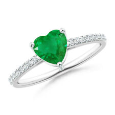 Solitaire Emerald Diamond Ring 14K White Gold Size 3-13