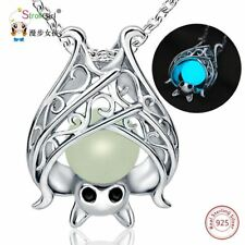 925 Sterling Silver Glowing Bat Pendants & Necklaces for Women Necklace