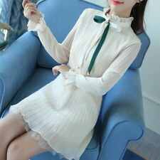 Women Spring Autumn Casual Long Sleeved Chiffon Fabric Ruffles Collar Dress