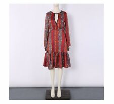 Women Vintage Chiffon Fabric Hollow Out Floral Printed Knee Length Dress