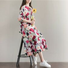 Women Summer Long Sleeve Sundress With Bow Casual Plus Size  Dress RQ116