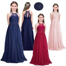 Flower Girls Chiffon Dress Lace Floral Wedding Bridesmaid Kids Party Prom Gown