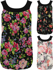 Plus Womens Chiffon Pleated Vest Top Ladies Floral Sleeveless Bubble Hem 14-28