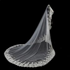 Cathedral White/Ivory Wedding Veils 3M Lace Edge Bridal Veil Accessories 062