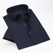 Cotton Fabric Dark Blue Color Short Sleeve New Fashion Loose Shirt For Men