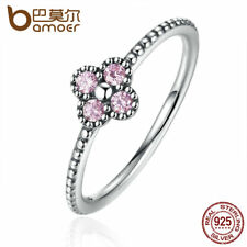 BAMOER 925 Sterling Silver Pink & White Clear CZ Romantic Clover Ring Jewelry