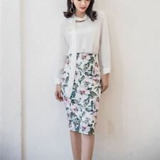 Spring Summer Fashion High Waist Slim Printed Vintage Skirt for Women ABN874