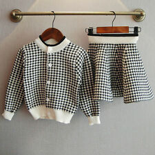 Kids Baby Girls Outfit Clothes Plaid Knitted Sweater Coat Tops+Skirt Set Lot