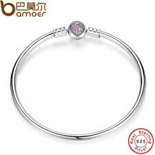 BAMOER Authentic 925 Sterling Silver Snake Chain Heart Bangle & Bracelet Jewelry