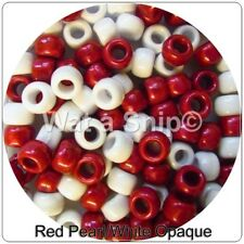 Red Pearl/White Opaque Mixed Pony Beads 50, 100, 200, 300, Xmas Candy Canes