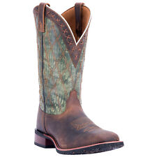 Laredo Mens Brown/Green Cowboy Boots Leather Cowboy Boots Square Toe