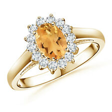 Princess Cut Citrine Ring with Diamond Halo 14K Yellow Gold
