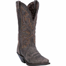 Laredo Womens Black/Tan Goat Leather Access 12in Snip Toe Cowboy Boots