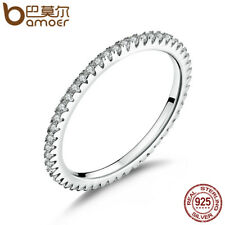 BAMOER 925 Sterling Silver High Quality Circle Clear CZ Geometric Stackable Ring