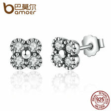 BAMOER 925 Sterling Silver Earrings Clear CZ Push Back Stud Earrings Jewelry