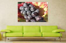 Canvas Poster Wall Art Print Decor Grapes Red Wine Plant Leaves