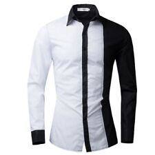 Men Solid Color Turn-down Collar Long Sleeve Slim Fit Casual Shirt
